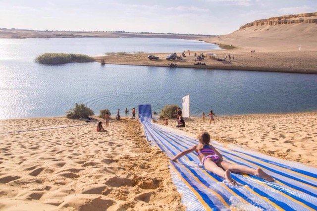 Water slides: an innovative way to enjoy Fayoum's lakes