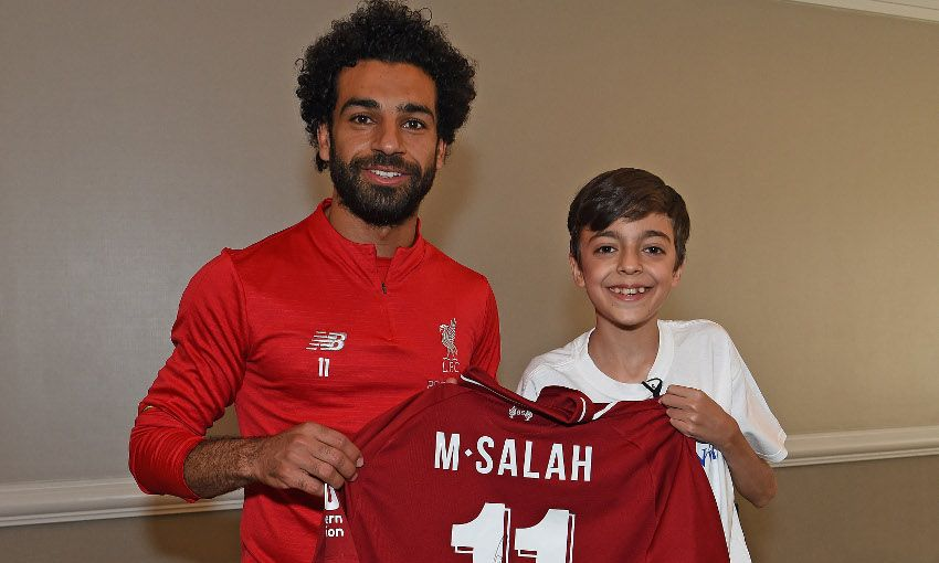 d8dbfecb2 Egyptian football legend and Liverpool striker Mohamed Salah made a dream  for a Syrian refugee kid come true when he met him during the Reds   pre-season ...