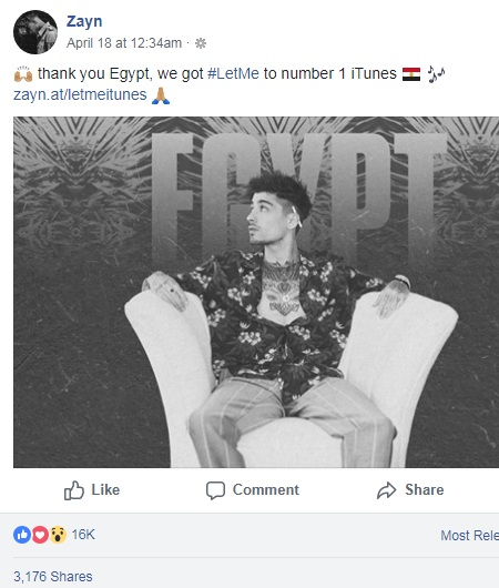 Zayn Malik thanks Egyptians for ranking his song first on iTunes