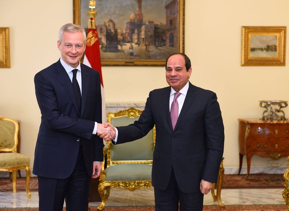 Egyptian President Abdel Fattah al-Sisi and France's Finance Minister Bruno Le Maire
