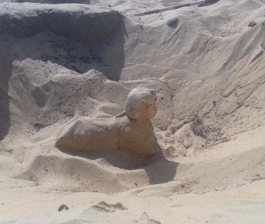 Royal pharaonic sphinx uncovered in Tuna al-Gabal