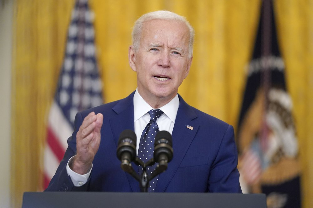 IMAGE: President Joe Biden speaks about Russia in the East Room of the White House, Thursday, April 15, 2021, in Washington. (AP Photo/Andrew Harnik)