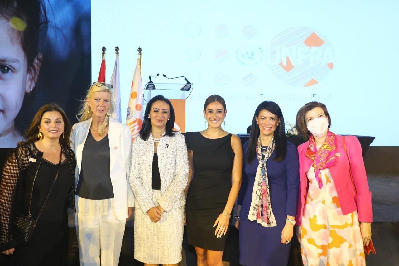 Actress Amina Khalil with Rania Al-Mashat and President of the National Council for Women in Egypt Maya Morsi