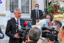 France's Economy and Finance Minister Bruno Le Maire speaks to reporters in the Egyptian capital Cairo Khaled DESOUKI AFP