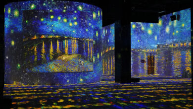 Starry Night Over the Rhône by artist Vincent van Gogh displayed at Dubai's Infinity Des Lumières